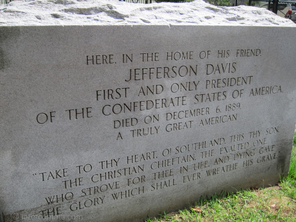 Monument to Jefferson Davis, who died in the Payne Strachan House in 1889.