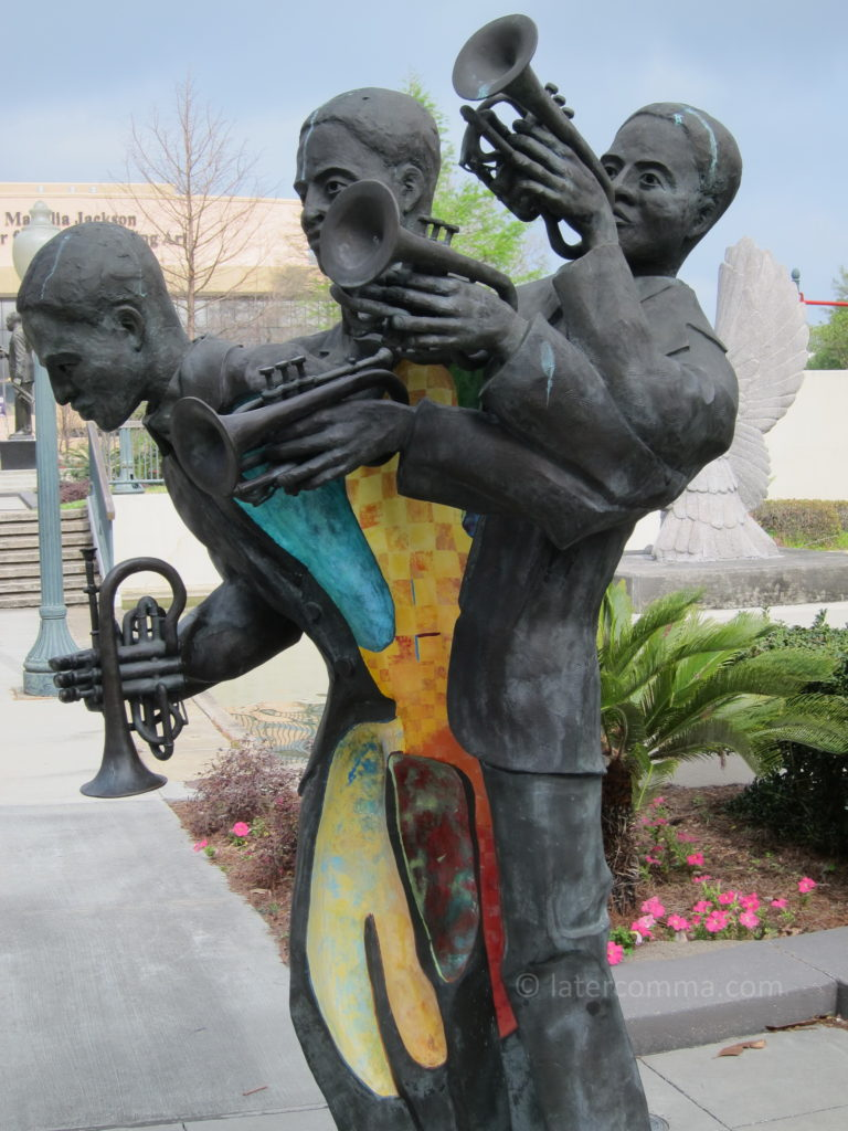Buddy Bolden sculpture, Louis Armstrong Park.