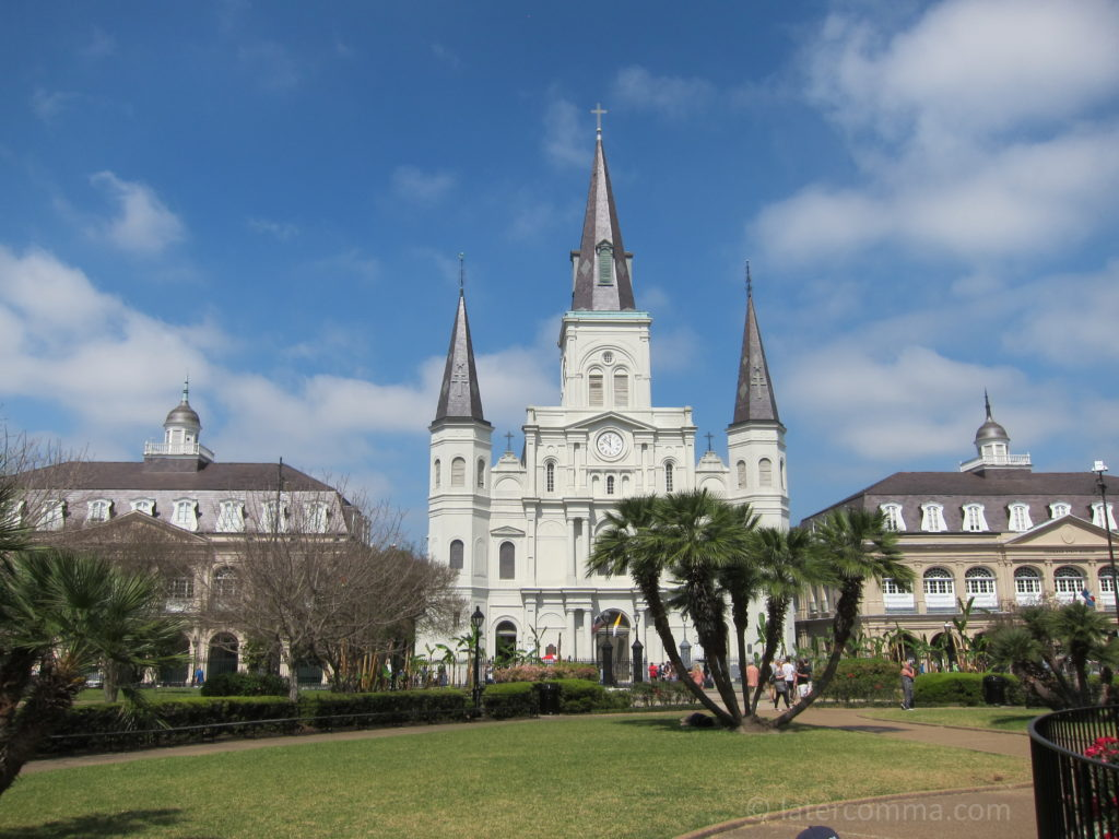 The Cabildo, St. Louis Cathedral, and the Presbytère.